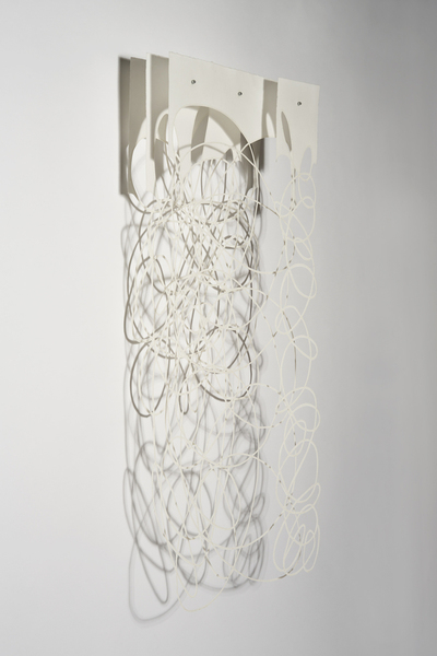 "String Theory-WD Four, 48""x20""x8"" paper, thread, bees wax, tree resin"