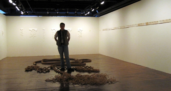 "The Bitter End, installation view, 50'x3"", rope, thread, beeswax"