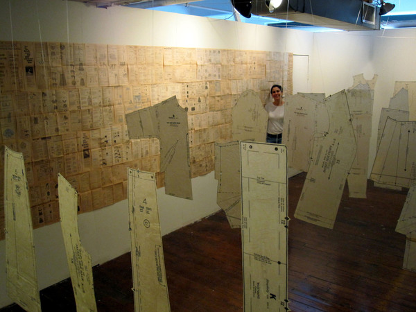 Layers of Time Installation, 20'x30'x15'x25' dress patterns, beeswax