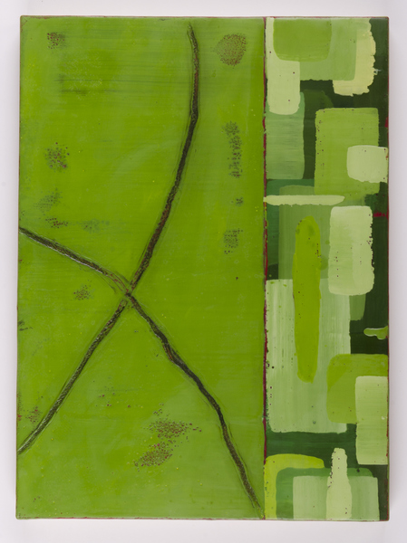 Trapunto di Colore 11, 12x16, encaustic, oil stick on birch panel