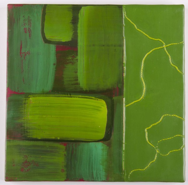 Trapunto di Colore 5, 8x8, encaustic, oil stick on birch panel