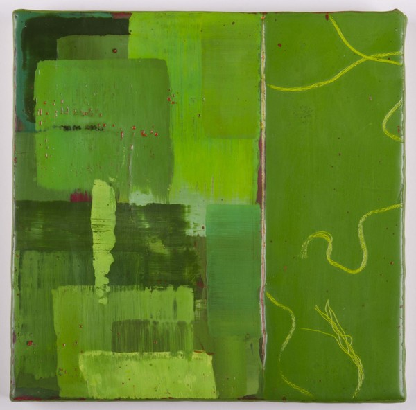 Trapunto di Colore 6, 8x8, encaustic, oil stick on birch panel